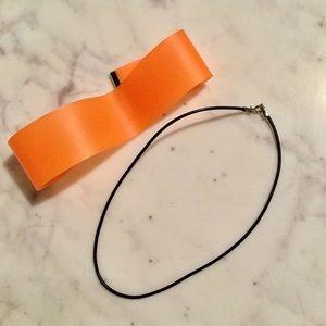 orange choker & black leather choker necklace